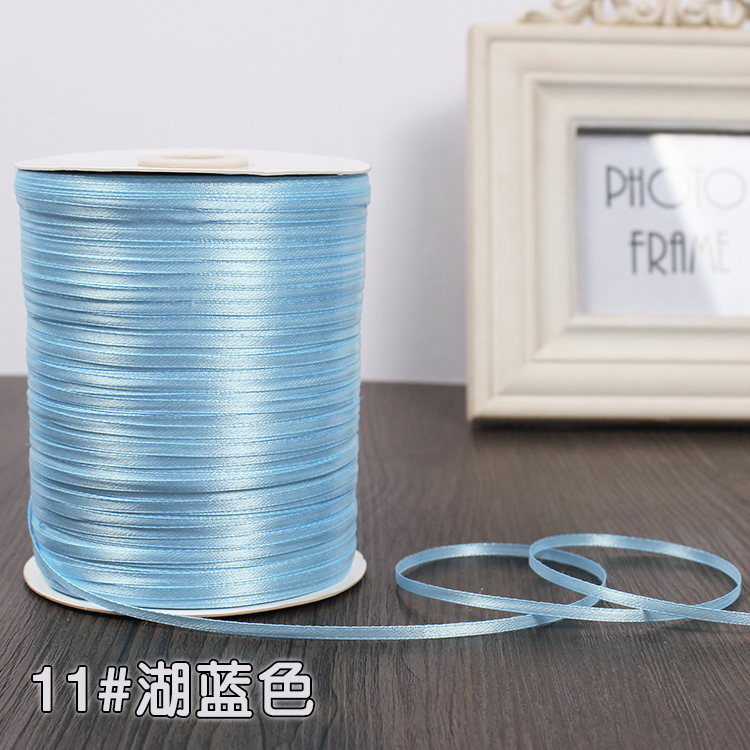 3 мм ширина бордовые атласные ленты 22 метра швейная ткань подарочная упаковка «сделай сам» ленты для свадебного украшения - Цвет: Light Blue