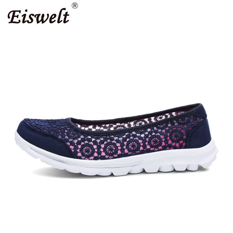 EISWELT Women Flats Shoes Comfortable Flat Air Mesh Spring Summer Shoes Female Casual Fashion Slip on Shoes for Women Flats instantarts cute glasses cat kitty print women flats shoes fashion comfortable mesh shoes casual spring sneakers for teens girls