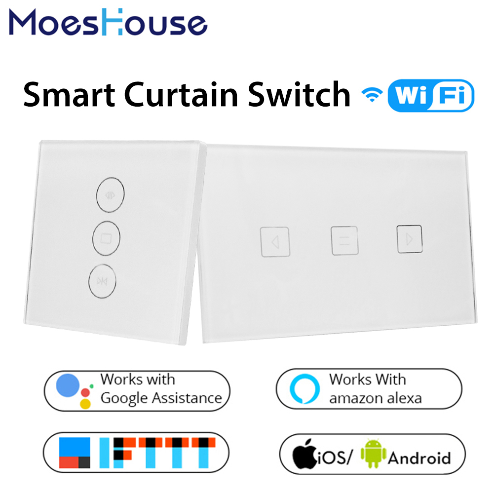 WiFi Smart Curtain Switch Glass Panel App Remote Control Works with Alexa and Google Home or Electric curtain motor EU US ewelink dooya electric curtain system curtain motor dt52e 45w remote control motorized aluminium curtain rail tracks 1m 6m