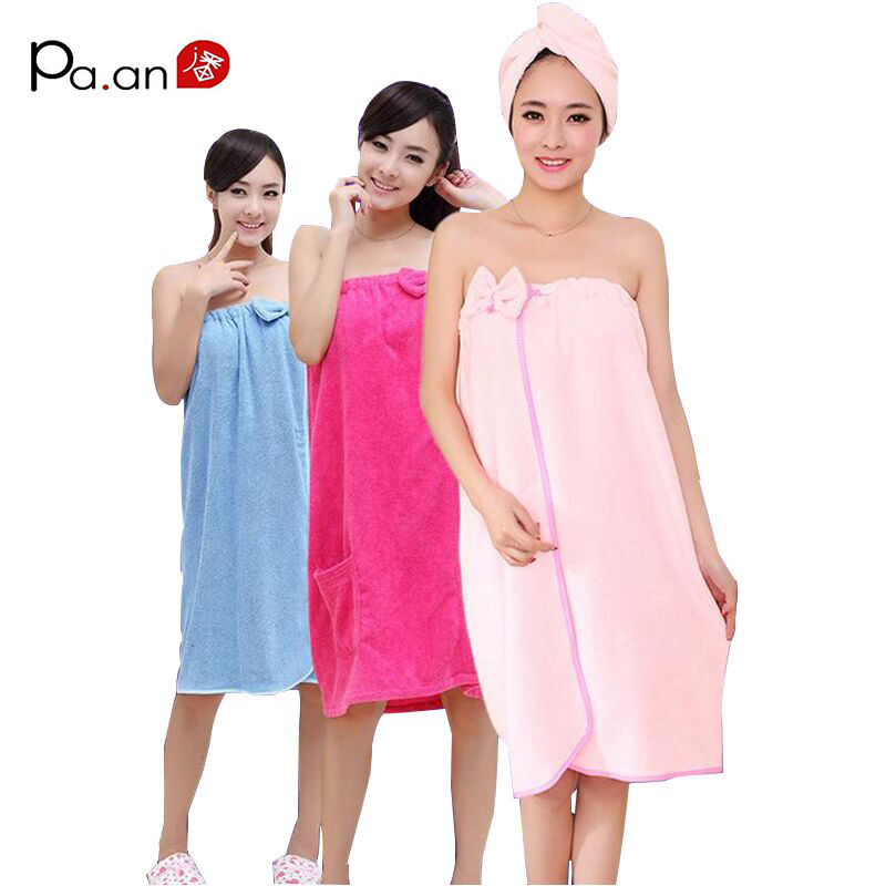 Fashion Women Bath Towel Bowknot Wearable Towels Super Absorbent Solid Color Bath Sleep Wear