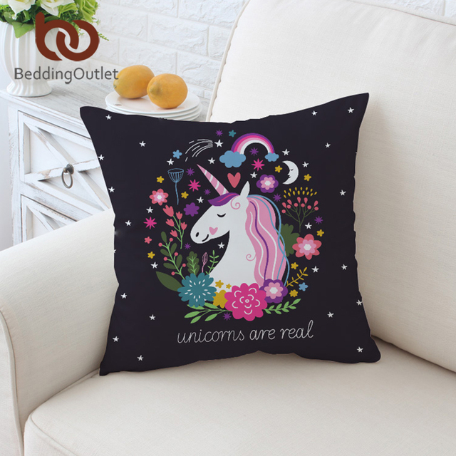 BeddingOutlet Cartoon Unicorn Fodere per Cuscini Nero Coperture per Cuscini Flor