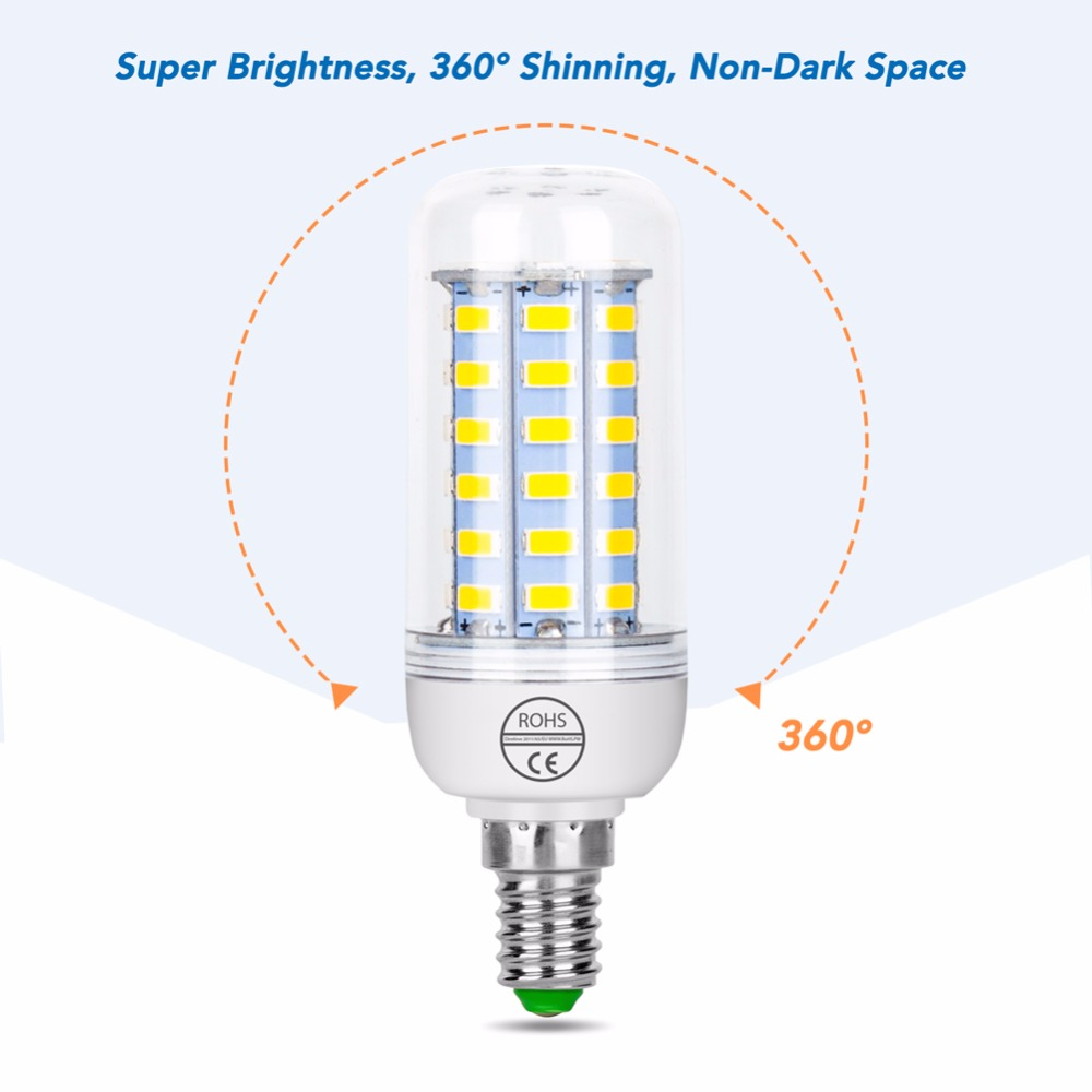 E27 Bombillas 220V Led Bulb Candle Lamp E14 Energy Saving Interior Lights 5730 SMD Chandelier Lighting Corn Bulb Luminaria 240V