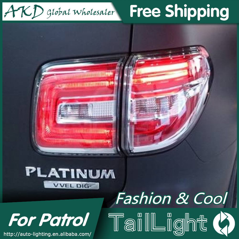 AKD Car Styling for Nissan Patrol Tail Lights 2014-2015 Tourle LED Tail Light Rear Lamp DRL+Brake+Park+Signal jgd brand new styling for nissan s15 tail lights 1999 2014 led tail light rear lamp led drl singal car lights