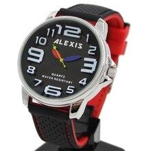 אלכסיס יוניסקס אנלוגי קוורץ עגול שעון יד יפן PC21J תנועה שחור רך סיליקון רצועה שחור חיוג מים עמיד