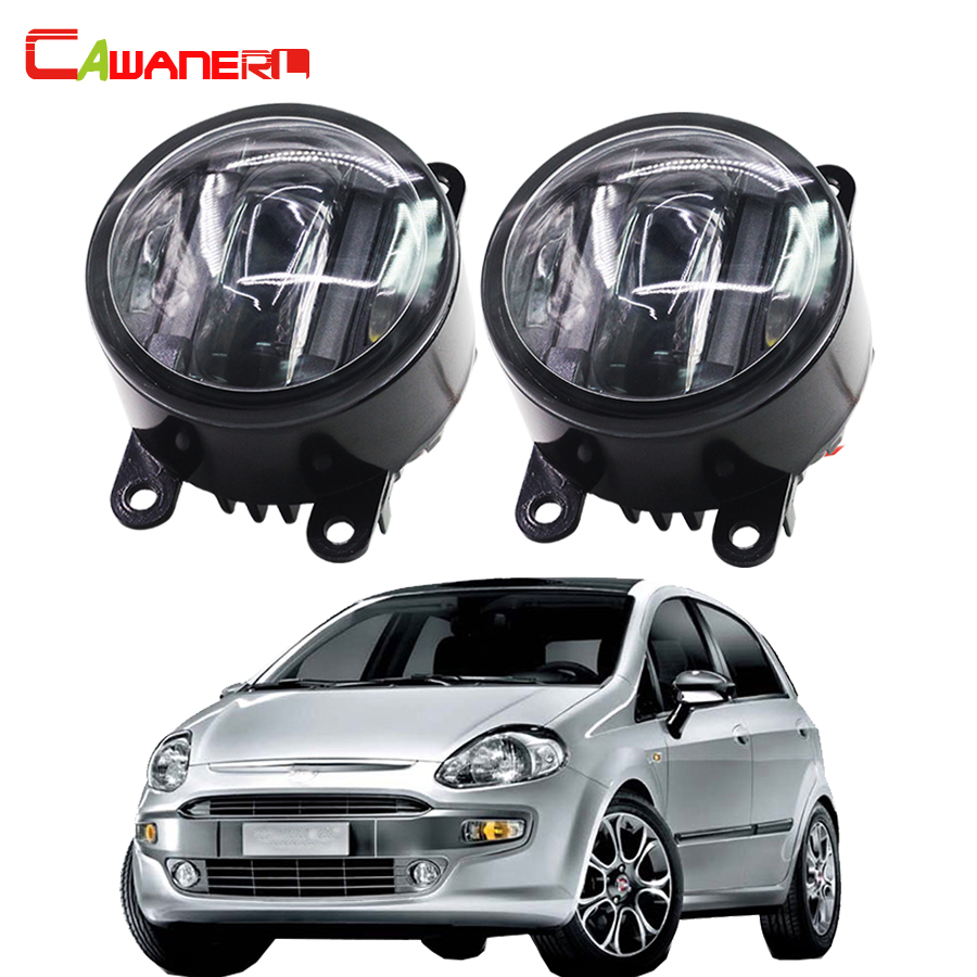 Cawanerl 2 Pieces Car Accessories Right + Left Fog Light LED DRL Daytime Running Lamp For Fiat Punto Evo 2010-2012 cawanerl for toyota highlander 2008 2012 car styling left right fog light led drl daytime running lamp white 12v 2 pieces