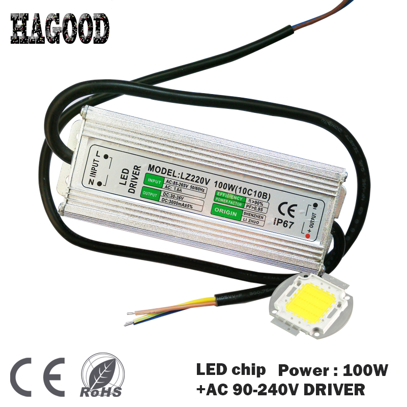 High Power 100W 9000LM LED Bulb IC SMD Lamp Light Blue Green White Yellow Warm White +ONE POWER SUPPLY DRIVER high power 100w white 6500k warm white 3500k smd led light input 12 24v dc led driver