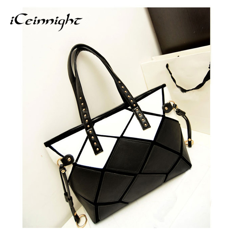 iCeinnight 2016 New High Quality Patchwork Square Handbag PU leather Shoulder Bag Large Women Fashion Totes