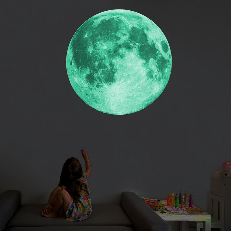 8/12/20/30cm Energy Storage Fluorescent Glow In the dark DIY 3D Moon Earth Wall Stickers for Kids Rooms Decor Home decoration(China)