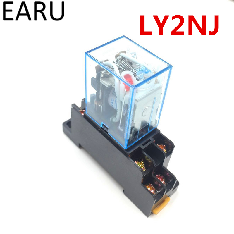 1Pc LY2NJ HH62P HHC68A-2Z Electronic Micro Mini Electromagnetic Relay 10A 8PIN Coil DPDT With Socket Base DC12V,24V AC110,220V dpdt 8pins 10a electromagnetic relay ac220v coil w 35mm din rail socket