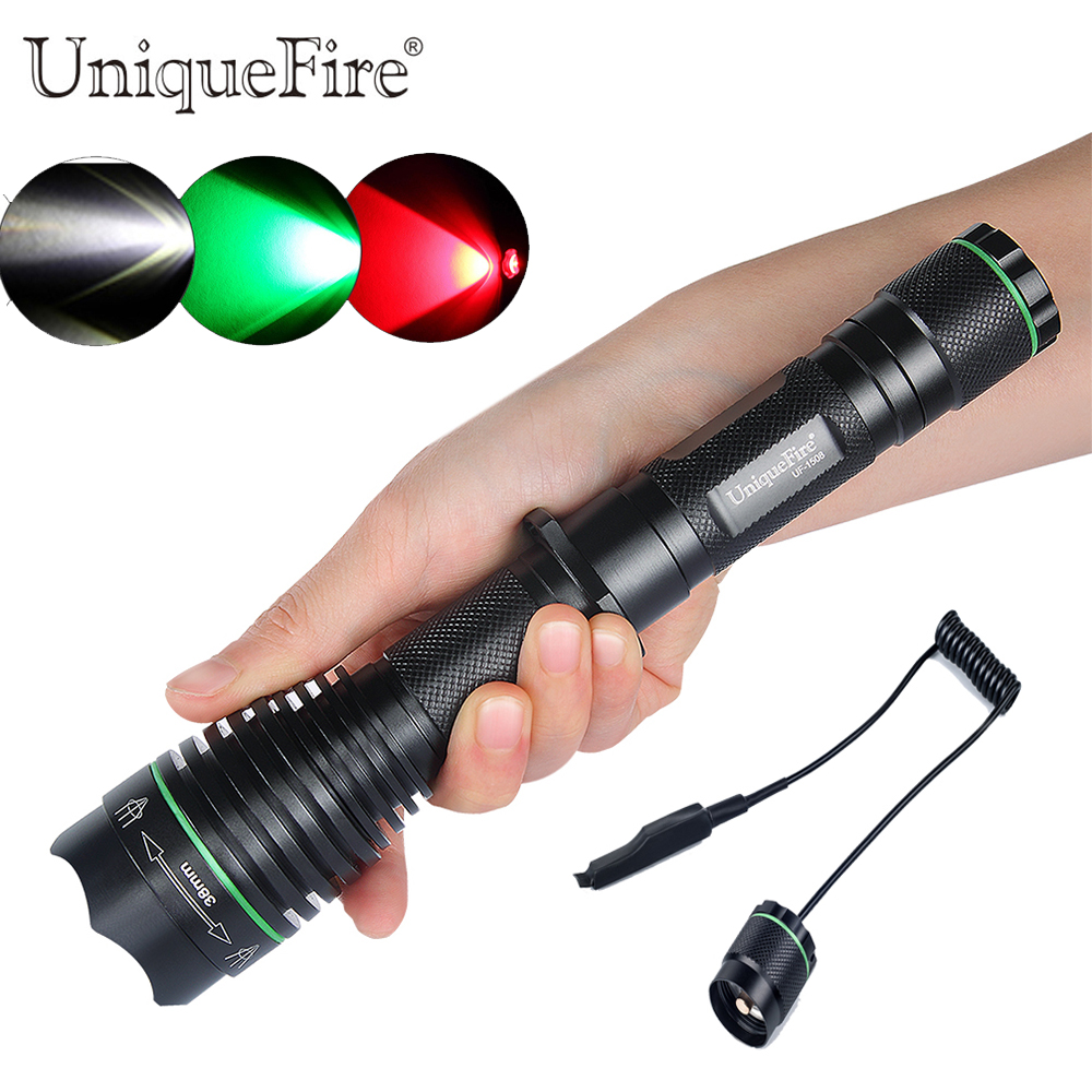 Uniquefire Adjustable Led Flashlight 1508-XRE 38mm Convex Lens Zoom 3 Modes Rechargeable Lamp Torch+Remote Pressure To Hunting удлинитель zoom ecm 3