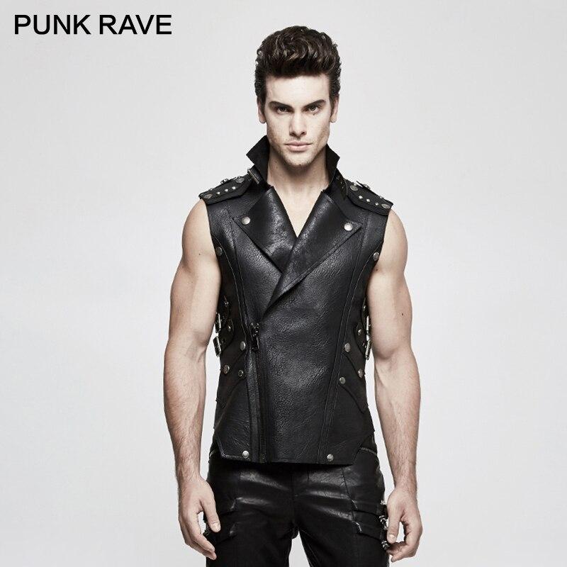 PUNK RAVE Punk Rock Cowboy hommes lourds noir Biker militaire PU en cuir gilet dernier inhabituel croustillant gilet gothique vestes vêtements