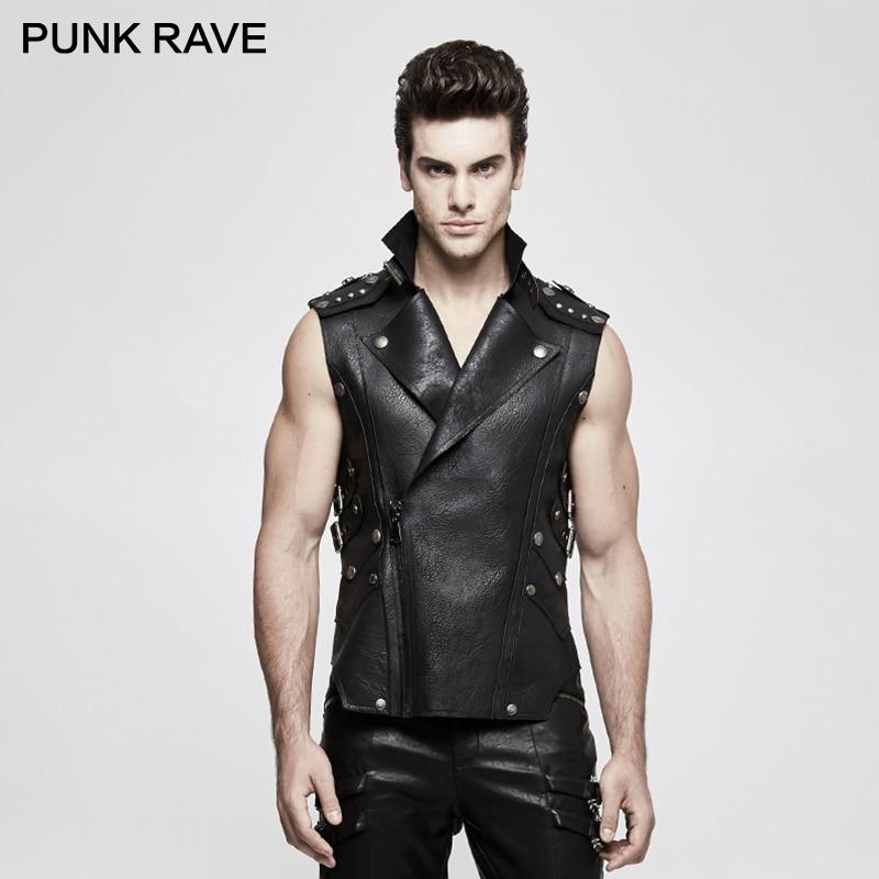 PUNK RAVE Punk Rock Cowboy Heavy Men Black Biker Military PU Leather Vest Latest Unusual Crisp Waistcoat Gothic Jackets Clothing