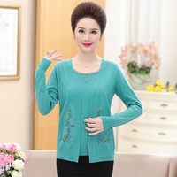 Women's autumn beaded cardigan elegant fake two pieces knit clothes lace flroal knit cardigan