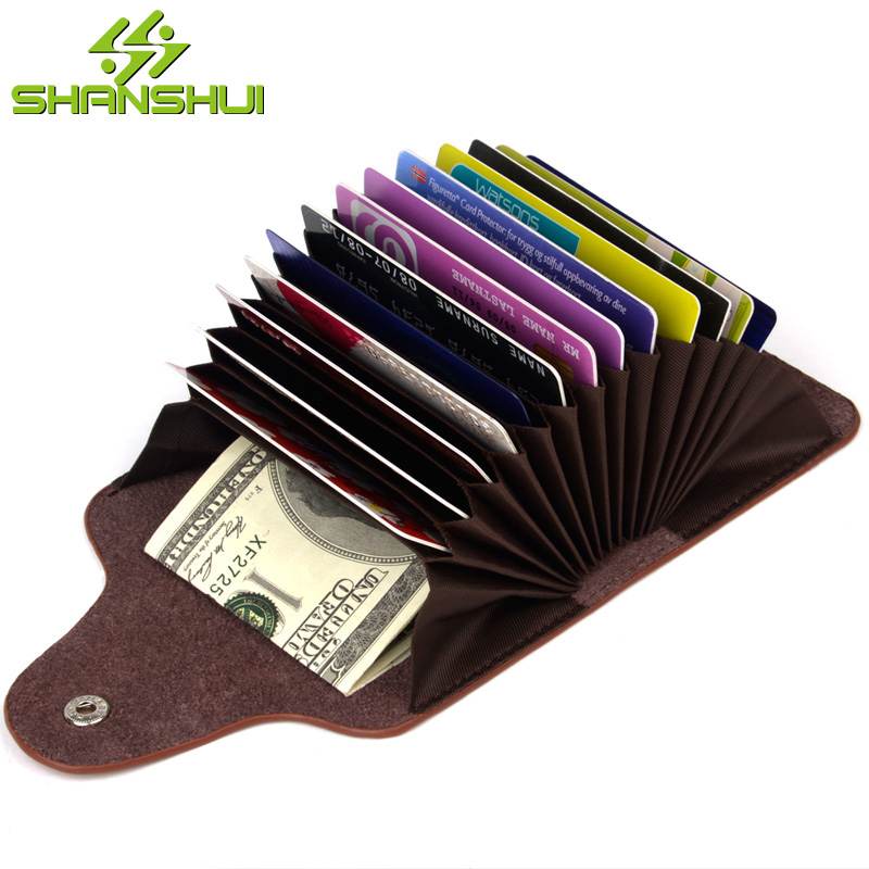 SHANSHUI Women Fashion Candy Color Credit Card Holder Travel Causal Business Genuine Leather Cardholder ID Card Credit Cards