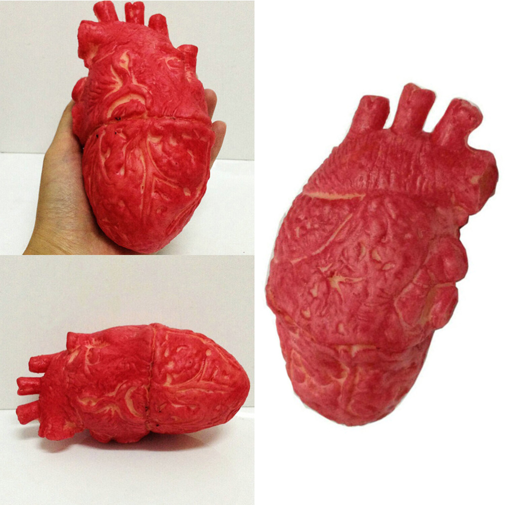 1pc halloween horrible bloody severed horror scary human heart lifesize scary fake rubber gory body part