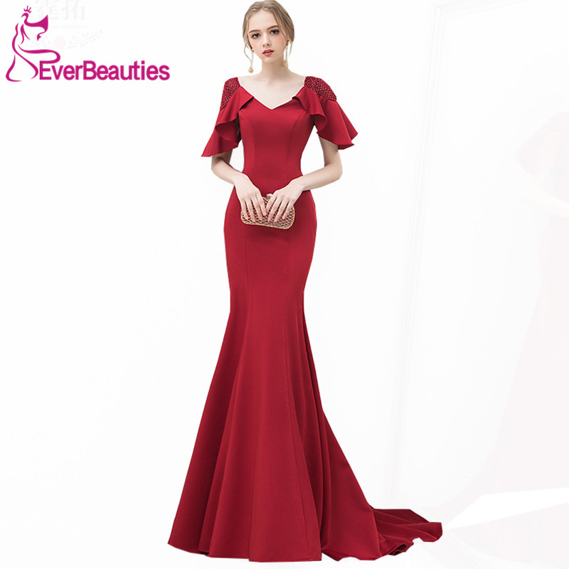 Elegant Mermaid   Evening     Dress   Long 2019 Wine Red Satin with Beaded Prom Party   Dresses     Evening   Gowns Robe De Soiree