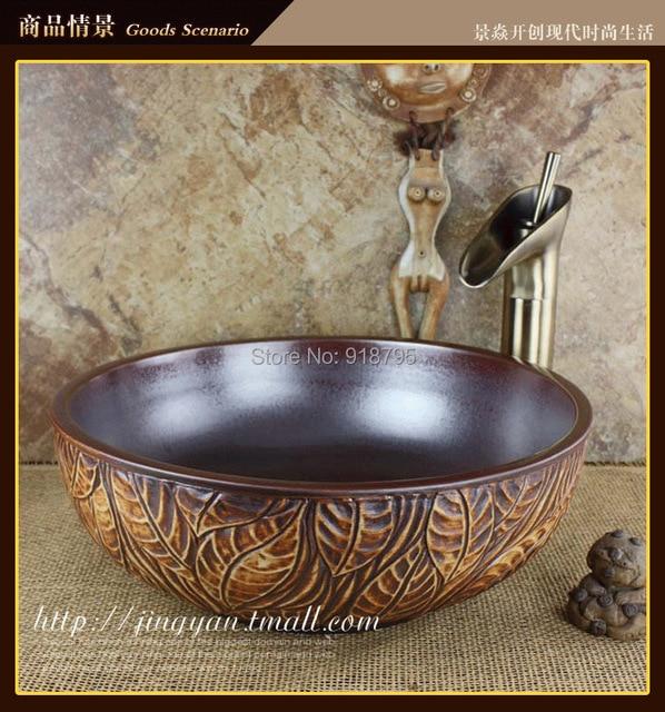 Round Bathroom Ceramic Counter Top Wash Basin Cloakroom Above Counter Vanity  Vessel Sink Wash Bowl JY