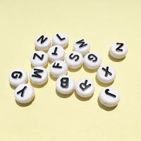 New Arrival Flat Coin Round Shape Acrylic Letter Beads 6 10MM White With Black Initial Alphabet
