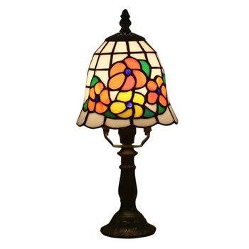 15 Cm Eksotis Tiffany Bunga Vintage Kaca Lampu Meja untuk Lobi Kamar Tidur Bar Apartemen Berwarna-warni Kaca Lampu Baca H 33 Cm 1060