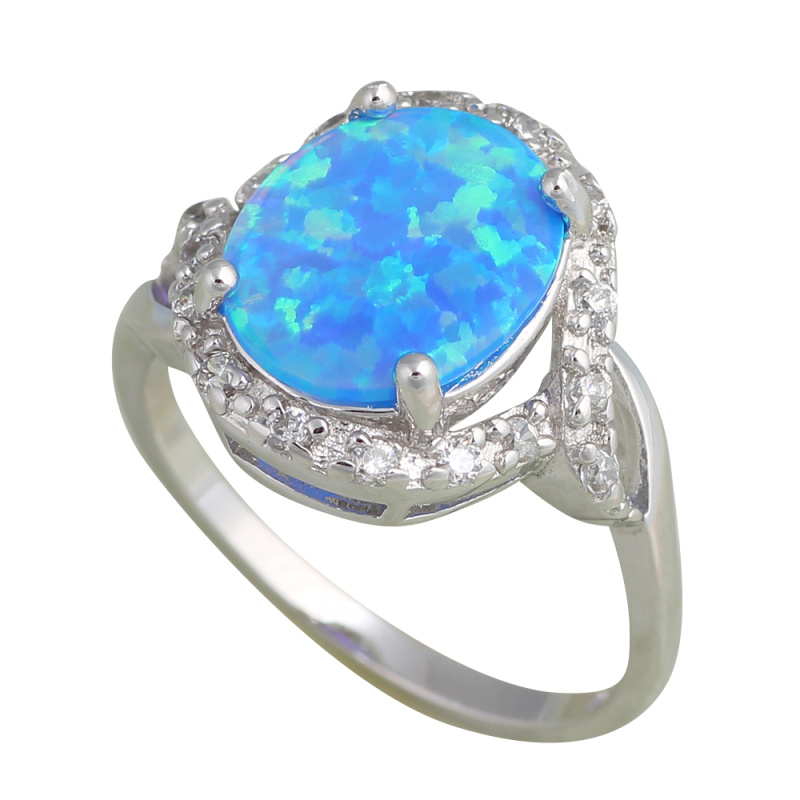 Delicate rare style design blue fire opal silver zirconia rings fashion jewelry usa size 6 5 6 Design and style fashion jewelry