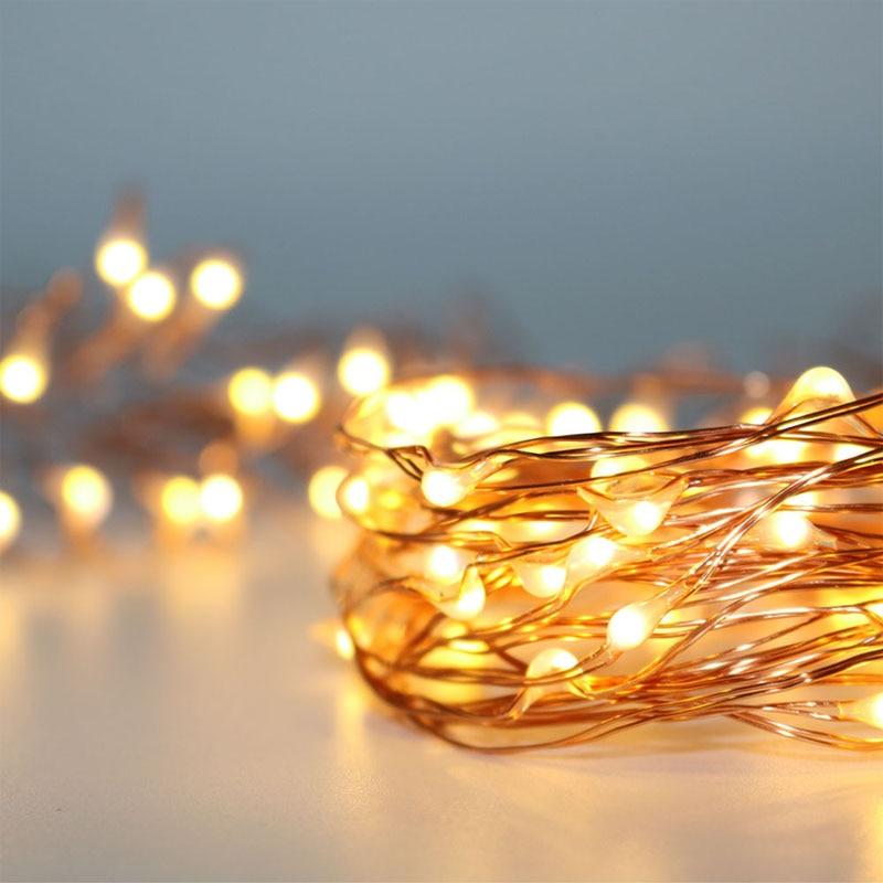 3 м 5 м теплый белый АА батареи работают Micro Медь Серебро проволоки Fairy Звездные Рождество праздник свадьба Невидимый риса строки