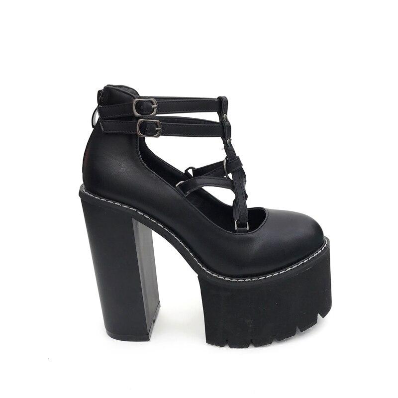 Chaussures Décontracté blanc Cheville À Rock Talons Bottes Noir Punk Plateforme Hauts Femmes Escarpins Printemps Épais qLUzVMpSG