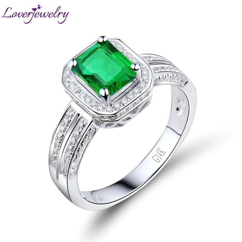New Engagement Emerald Cut 5x7mm Solid 14Kt White Gold Diamond Emerald Ring For Sale R00322