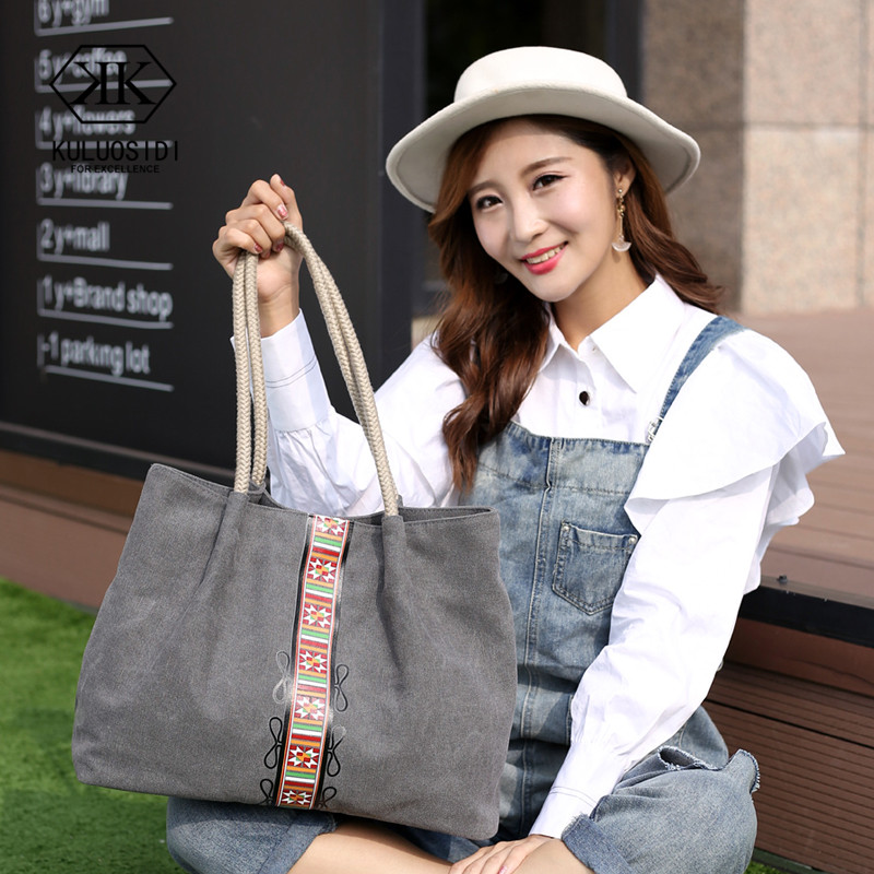 Tasca Tracolla Shopping Grande A Donne Tela Casual grigio Capacità Borsa Per blu Le brown 2019 Beige Di Borse Delle v1rwv6q