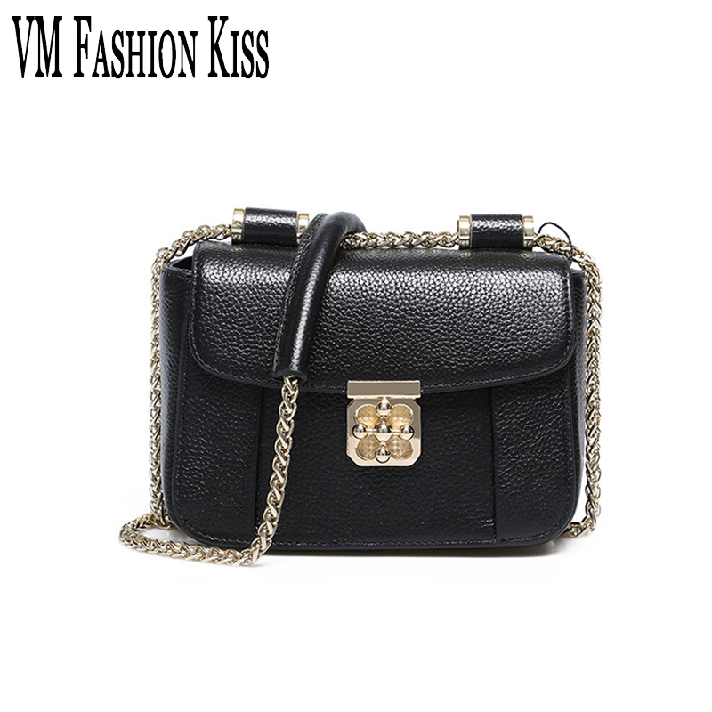 VM FASHION KISS Genuine Leather Ladies Shoulder Package Summer Mini Chain Messenger Bag Designer Brand Real High Quality Women