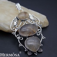 Hermosa Jewelry Beauty Natural Rutilated Quartz 925 Sterling Silver Jewelry Necklace Pendant AZ843