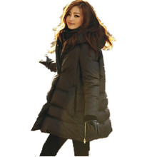 2016 Winter New Women Downs Coat Medium Long Thick Warm Hooded Loose Plus Size S~3XL Female Outwear Jacket And Parkas LJ3099