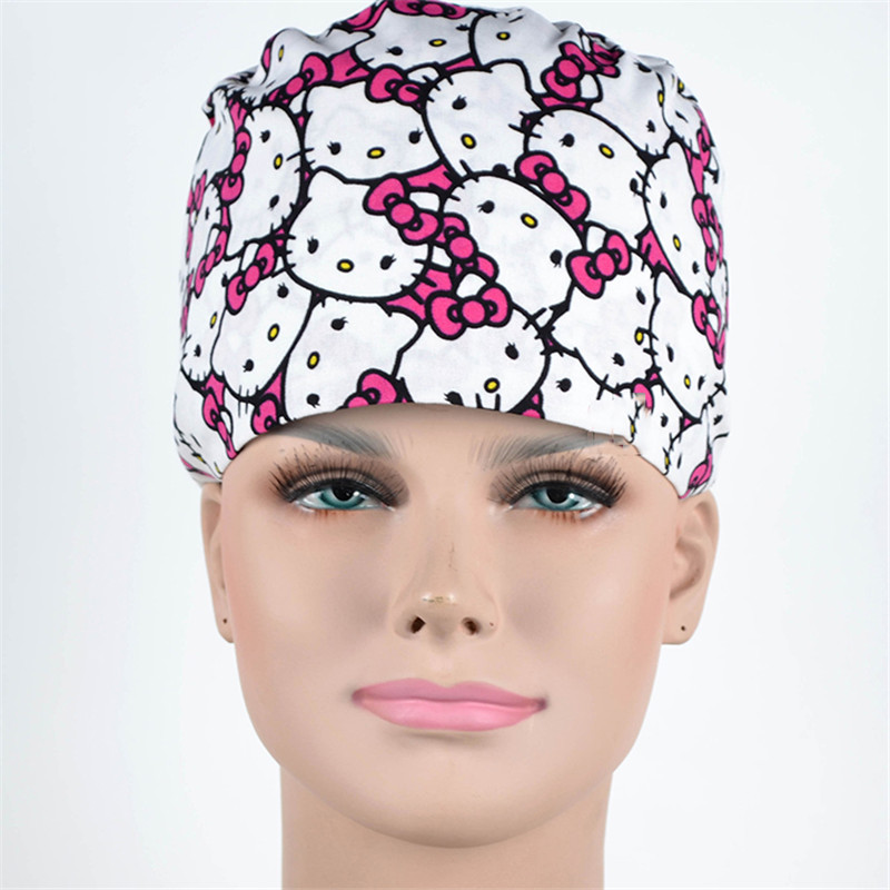 Veterinary Cap Hospital Pet Clinic Doctor Man Woman Surgical Skull Caps Dentist Work Hat 100% Cotton Tie Back Straps Elastic
