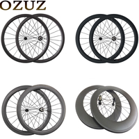 50mm Carbon Clincher Tubular Road Bike Bicycle Wheels Ceramic Bearing Hubs Carbon Wheels Black White Logo