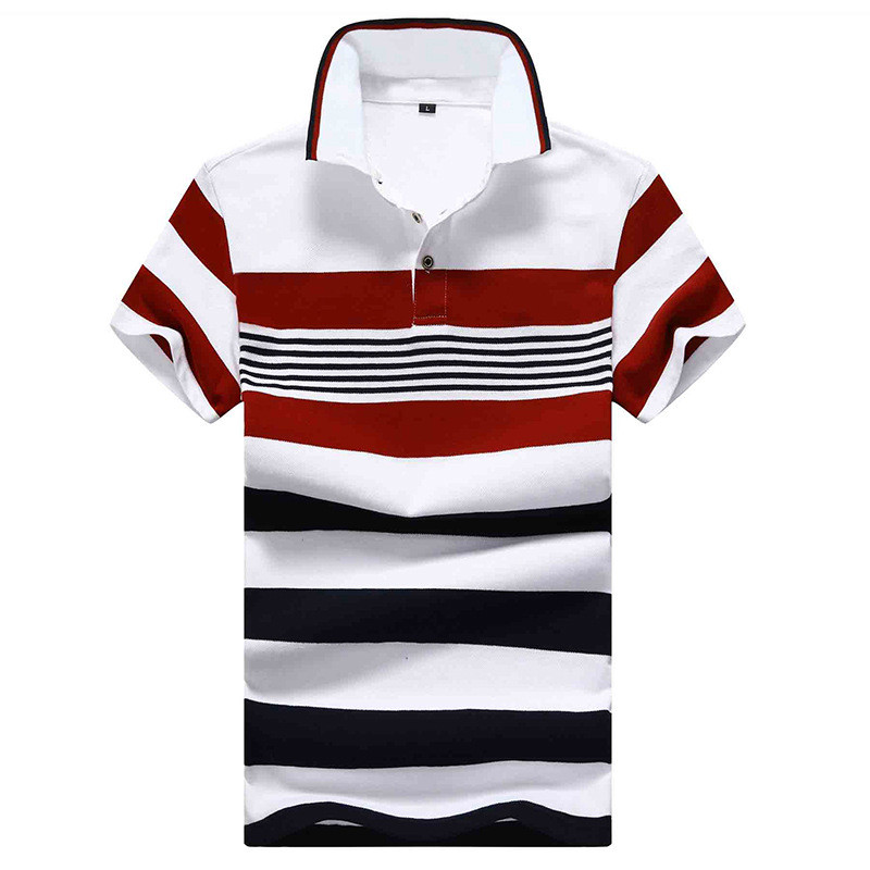 2019 Summer New Men's Fashion Boutique Cotton Striped Casual Short-sleeved   Polo   Shirts / Mens Slim Contrast   Polo   Shirts