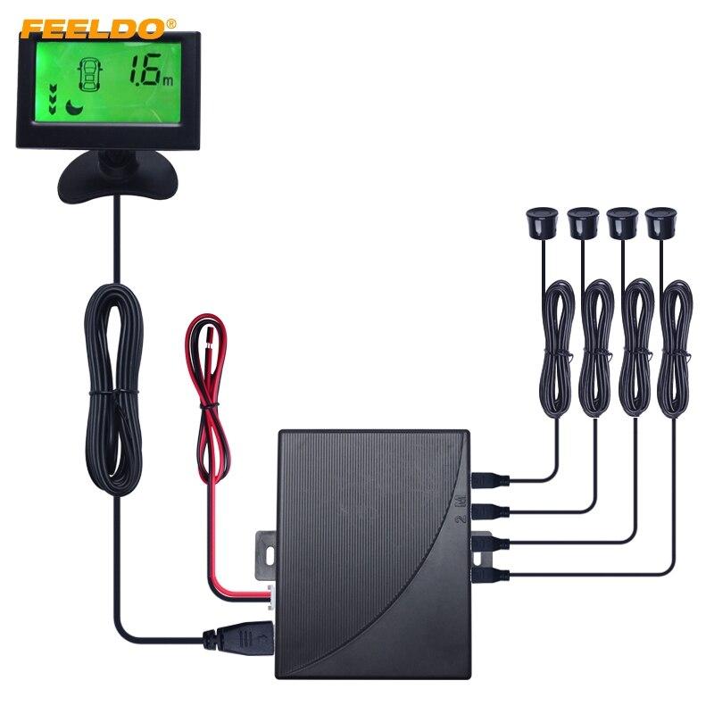FEELDO 1 Set voiture alarme couleur de fond en 3 étapes moniteur LCD sauvegarde aide à l'inversion système de capteur de stationnement # AM1813