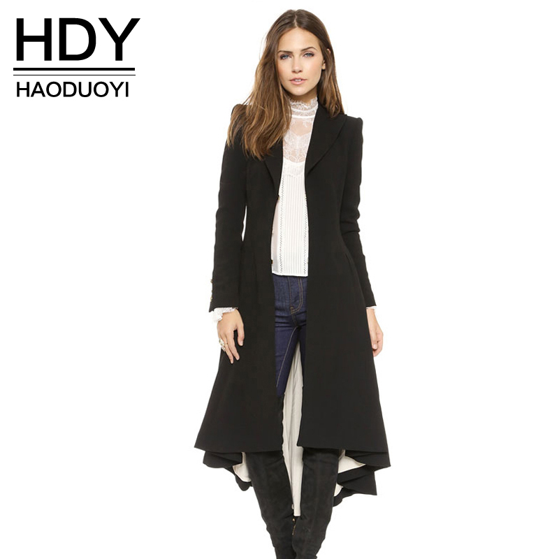 HDY Haoduoyi Autumn Winter Women Black Long Sleeve   Trench   Coat Fashion Wool Blend Coats Ladies Warm   Trench   Coats Lady Outwears
