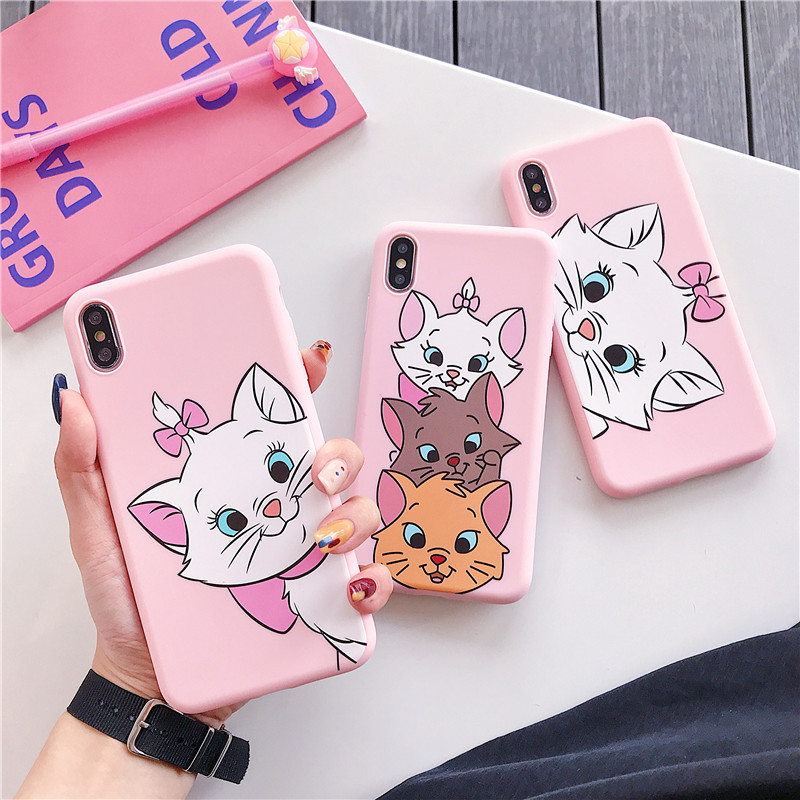 Cartoon Pink Marie <font><b>Cat</b></font> <font><b>Case</b></font> For <font><b>iPhone</b></font> X XS Max XR 6 6s 7 <font><b>8</b></font> Plus Matte Cute Candy TPU Soft Silicone Phone Cover Coque image