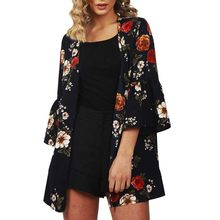 Womens Open Front Fly Away Light Chiffon 3/4 Sleeve Tops Outwear Flower Print Outwear Tops Tee Tunic Mujer Femme Newest(China)