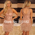 Champagne Sheath Mini Back Hole Customized Made Above Knee Formal Lace Cocktail Party Dress Vestidos TA007 Feather Dresses Short