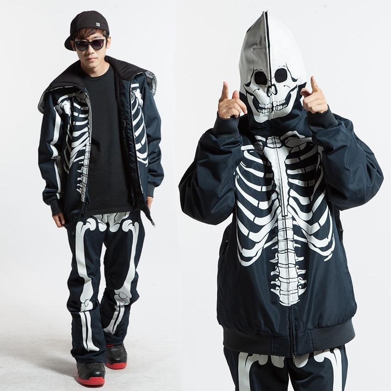 Winter Ski Suit Men Snowboard Skull Ski Jacket+Pant Windproof Waterproof Winter Suit Male Snow Ski Skiing Sets