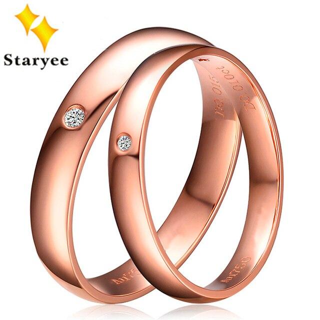 5f2641879a43 Anillo de compromiso oro rosa sólido 18 K Real anillo 0.02ct SI H redondo  brillante diamante Natural anillos para la boda las mujeres banda joyería