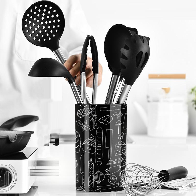 Outils de cuisson antiadhésifs poignée en acier inoxydable batteur à oeufs cuillère pince spatule brosse à huile pince à pain ustensiles de cuisine en Silicone