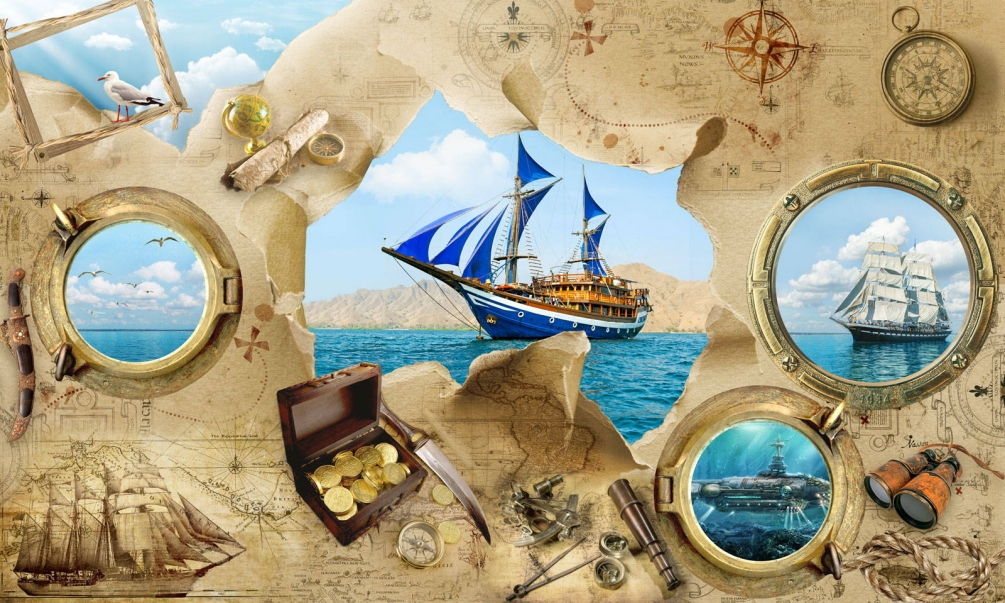 blue sky white clouds sea pirate map ship nautical party backdrops Vinyl cloth High quality Computer print wall Background sea beach blue sky backdrops vinyl cloth computer printed wedding backgrounds for sale
