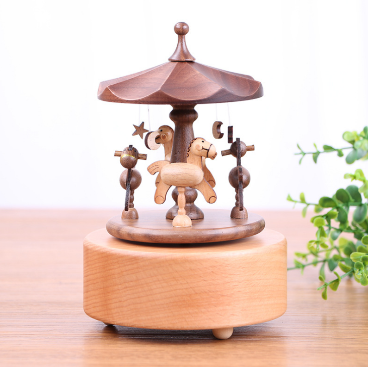 High Quality Solid Wood Lovely Carousel Music Box Home Decor Desktop Ornament Creative Crafts Music Box For Girl Children LFB451