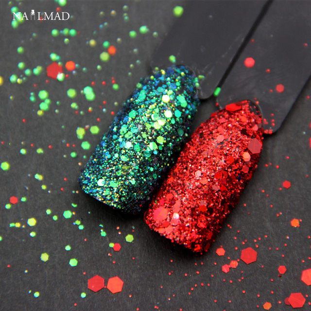 2colors Set Nail Mad Xmas Glitters Christmas Glitter Sequins Holographic Red Green