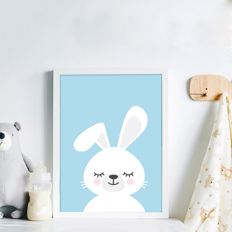 Blue Rabbit Canvas Poster Simle Nursery Quotes Wall Art Print Painting Nordic Kids Decoration Picture Baby Boy Bedroom Decor in Painting Calligraphy from Home Garden