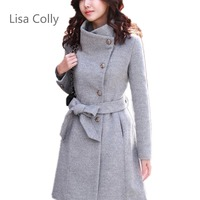 Colly spring autumn fashion Casual women's Warm woolen coat Outerwear long sleeves Thick jacket Coat Overcoat loose clothes