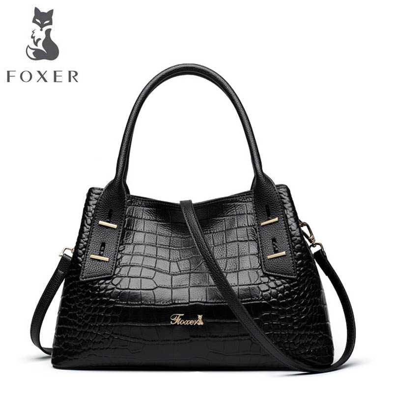 FOXER 2018 New Women leather bag designer famous brand leather women bag Cowhide Crocodile pattern fashion leather shoulder bag foxer 2018 new women leather bag designer fashion women famous brand cowhide small tote bag women leather shoulder bags