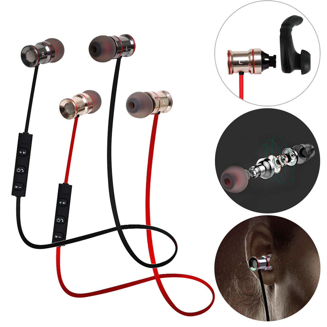 Confident Wireless Biaural Stereo Input Ear Motion Magnetic Absorbing Metal Bluetooth Headset With Mic For Xiaomi Huawei