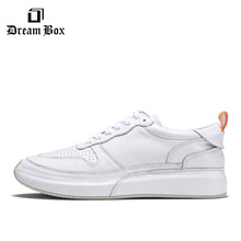 цена Summer Men's Casual Shoes Leather Breathable Thick Bottom Increased White Мужская обувь онлайн в 2017 году